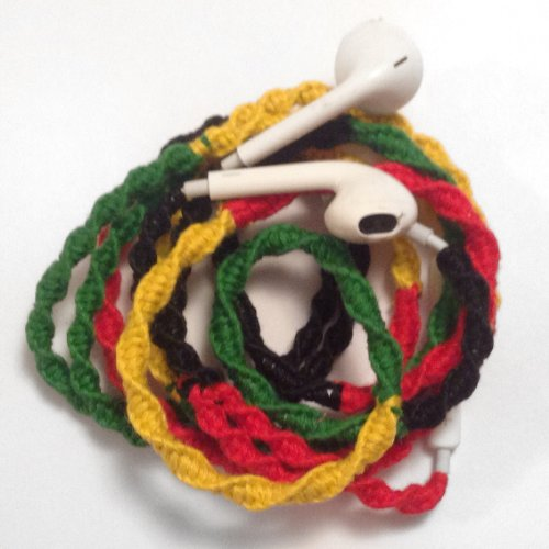 Mybuds Tangle Free Headphones W/Mic Rasta Red Yellow & Green For Iphone