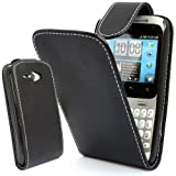 GLITZY GIZMOS BLACK PU LEATHER FLIP CASE COVER POUCH FOR HTC CHA CHA CHACHA