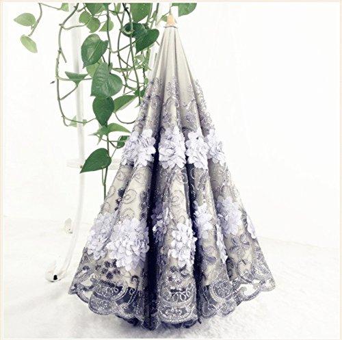 Honeystore Vintage Lace UV Sun Parasol Two Folding 3D Flower Embroidery Umbrella 3