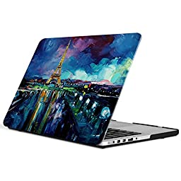 iCasso New Art Fashion Image Series Ultra Slim Light Weight Rubberized Hard Case Glossy Clear Crystal Snap-On Hard Cover Case for MacBook Pro 13 inch Retina (Model: A1425/A1502) - Night View of Paris