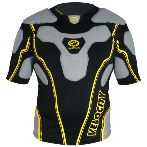Optimum Velocity Top Men's Protective Shoulder Pad - Black/Yellow, X-Large