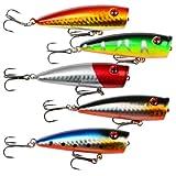Lot 5pcs 9g 7cm Fishing Topwater Floating Popper Poper Lure Hooks Bait Crankbait