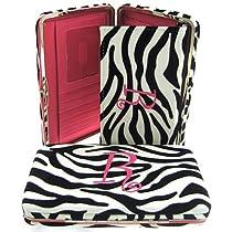 "Hot Pink Initial "" R "" Zebra Print Soft Velvet Stripes Thick 1"" Flat Wallet"