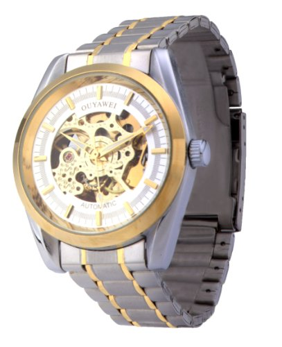 Men'S White Dial Golden Bezel Stainless Steel Water-Proof Mechanical Watches