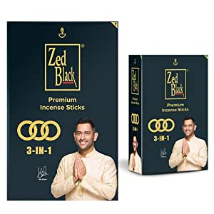Zed Black 3 –in-1 Premium Incense Sticks for Everyday Use Long lasting Mesmerizing Scent Sticks For Meditational or Religious Purpose - Pack of 2