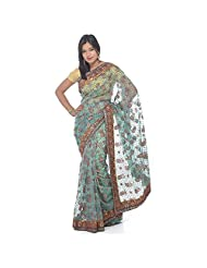 Chanderi Sea Green Tissue Saree With Flock Print, Stone And Patch Border Work