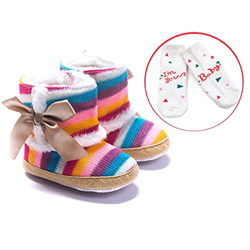 LIVEBOX Baby Multicolor Cotton Knit Premium Soft Sole Anti-Slip Warm Winter Infant Prewalker Toddler Snow Boots (L: 12~18 months)