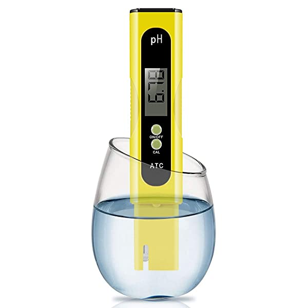 Digital PH Meter, Wellcows PH Meter 0.01 PH High Accuracy Water Quality Tester with 0-14 PH Measurement Range for Household Drinking, Pool and Aquarium Water PH Tester Design with ATC (Yellow) (Color: 2019)