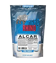 Hard Rhino Acetyl L-Carnitine (ALCAR) Powder, 500 Grams (1.1 Lbs), Unflavored, Lab-Tested, Scoop Included