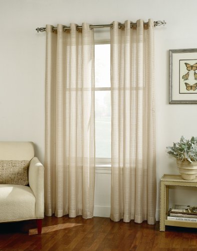 Easy Care Fabrics Semi Sheer Grommet Curtain/Drape/Window Panels, 54 by 84-Inch, Antique, 2-Pack