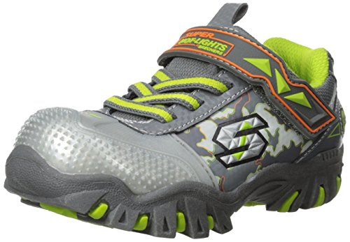 Skechers Kids 90473L Damager-Stark Light-Up Sneaker (Little Kid), Charcoal Lime, 2 M Us Little Kid