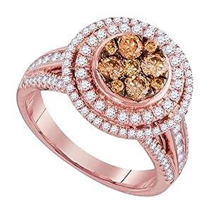 1.51 cttw 14k Rose Gold Cognac Brown Diamond Halo Engagement Ring ((L0425) Womens Size 4.25)