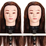 2 x 18'' 50% Real Human Hair _ Auburn Brown #33 , Female Barber Hairdresser Hair Hairdressing Hair Cutting Student Practice Training Head Doll Mannequin , with Clamp Holder