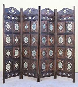 Hand Carved Wooden Room Divider ScreenAntique Finish 72 X 80""