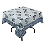 "Handmade Indian 54"" Square Tablecloth - Blue, Green And White Floral Cotton"