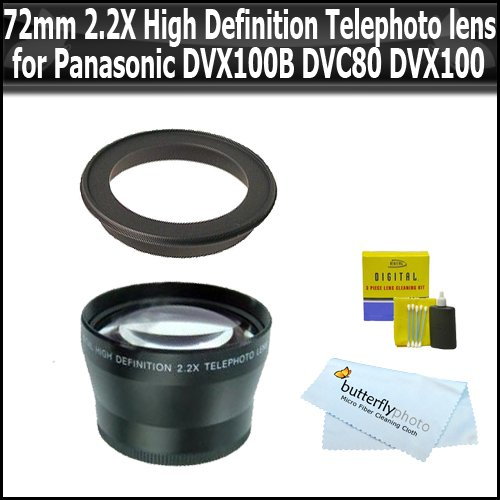 72Mm 2.2X High Definition Telephoto Lens For Panasonic Ag-Dvx100B Dvc80 Dvx100 + Butterflyphoto Microfiber Cleaning Cloth