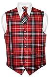Mens Plaid Design Dress Vest NeckTie Black Red White Neck