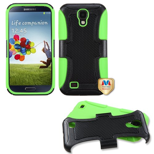 Fits Samsung I337 I9500 Galaxy S 4 Hard Plastic Snap On Cover Natural Black/Electric Green Frosted Fusion At&T
