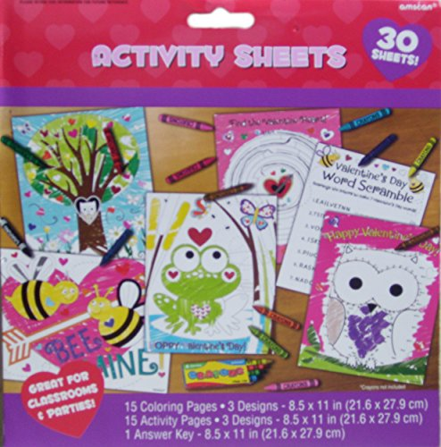 Valentine Coloring and Activity Sheets - 30 Count - 1
