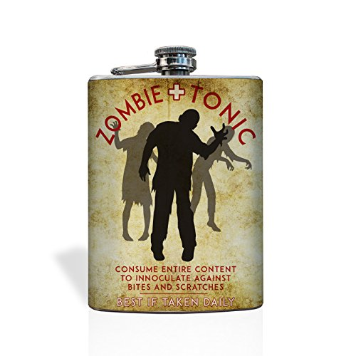Zombie Apocalypse Survival Flask | Fill with your own Zombie Tonic and add to your Zombie Survival Kit | 8 oz Stainless Steel