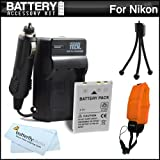 Battery And Charger Kit For Nikon COOLPIX AW120 AW110 AW100 Waterproof Digital Camera Includes Extended Replacement...