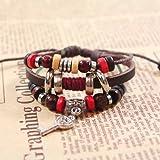 Real Spark Trendy Leather wristband Autique Key Pendant Beads Wrap Bracelet Triple Layer