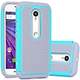 Moto G (3rd Gen) Case, LK [Shock Absorption] Hybrid Dual Layer Armor Defender Protective Case Cover for Motorola Moto G 3rd Generation 2015 (Mint)