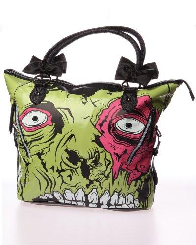 Iron Fist Zombie Chomper Dead Broke Monster Vegan Handbag Purse Green and Black