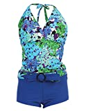 Marina West Women's Halter Tankini & Shorts Swimsuit Set (2 Piece),XX-Large,Blue Hydrangea thumbnail