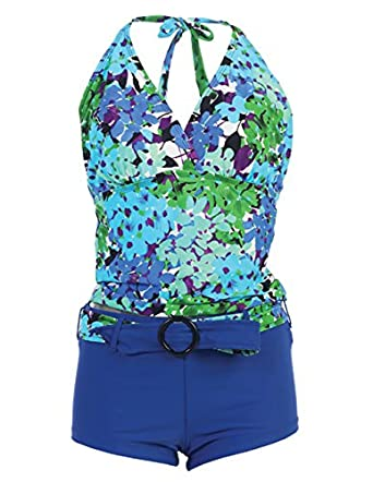 Marina West Women's Halter Tankini & Shorts Swimsuit Set (2 Piece),Small,Blue Hydrangea
