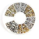 Genertic 500Pcs 1.2mm/2mm/3mm Mini Gold And Silver Round Stud Rhinestone Nail Art Decoration w/box