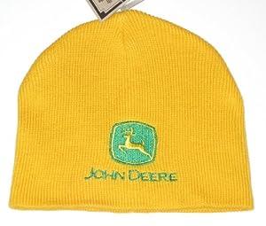 John Deere Yellow Embroidered Logo Knit Beanie
