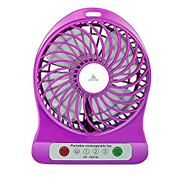 KoldFireTM Powerful Portable Wireless Rechargeable Mini USB Fan Micro USB Charging Port (Like Mobile) 2200 mAh Lithium-ion Battery Inside 3 Speed Compact Cool Premium Quality Durable Best for Desktop Use Lamp Gadget (Multicolor)