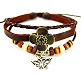 genuine Spark 4 Leaf Grass smooth Leather Wristband Wood Beads Butterfly Pendant Fashionable Wrap Bracelet