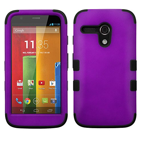 Thousand Eight(Tm) For Motorola Moto G Hard Plastic Dual Layer Tuff Shield Heavy Duty Protective Case + [Free Lcd Screen Protector Shield(Ultra Clear)+Touch Screen Stylus] (Tuff Rubberized Grape/Black)