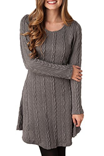 Mulisky Ladies Long Sleeve Plain A Line Cable Knitted Sweater Dress Dark Gray L