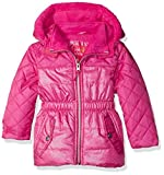 Pink Platinum Girls' Toddler Girls' Quilted Puffer Jacket Mixed with Spray Foil, Bright Pink, 2T