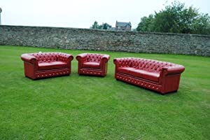 Red Bycast Leather Chesterfield Diamante 3 Piece Suite  by Chesterfield