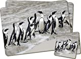 Sea Penguins Twin Coaster and Placemat Set, Ref:AB-101PC