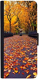 Snoogg New York Autumn Park Graphic Snap On Hard Back Leather + Pc Flip Cover...