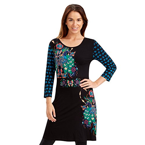 Joe Browns Women's Perfect Peacock Tunic Long Sleeve Dress, Multicoloured, Size 8