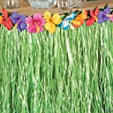 Hawaiian Luau Hibiscus Green Table Skirt 9Ft Party