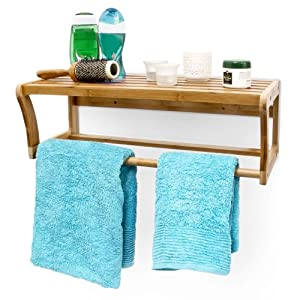 bamboo bathroom shelf and towel rail 60 x 26 x 20 cm. Black Bedroom Furniture Sets. Home Design Ideas