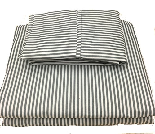United Linens printed striped 4 piece sheet sets Brushed Microfiber 1800 Bedding - Wrinkle, Fade, Stain Resistant - Hypoallergenic - 4 Piece (queen, grey) (Yellow Flannel Sheets compare prices)