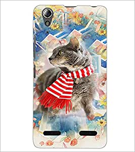 PrintDhaba Cat D-3179 Back Case Cover for LENOVO A6000 PLUS (Multi-Coloured)