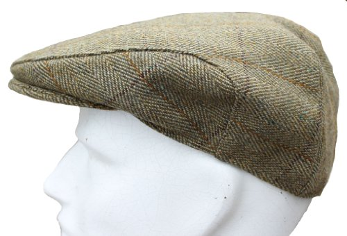 WWK Mens Derby Tweed Flat Cap Teflon Coated Hat Fishing Hunting Walking Shooting NEW Sizes Small to XXL