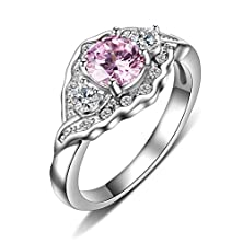buy Womens Stainless Steel Pink Cubic Zirconia Ring For Wedding Band Engagement Promise,Silver,Size 7
