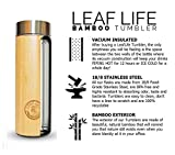 Bamboo Tea Tumbler with Strainer by LeafLife, Stainless Steel, Double Walled, Vacuum Insulated, BPA Free