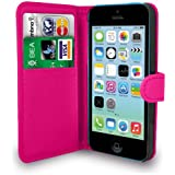 Apple iPhone 5C Hot Pink Leather Wallet Flip Case Cover Pouch + Screen Protector & Polishing Cloth