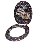 Toilet-Seat-High-Quality-surface-Stable-Hinges-Easy-to-mount-Brown-Cats